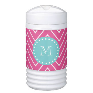 Hot Pink Chevron Pattern | Teal Monogram Drinks Cooler