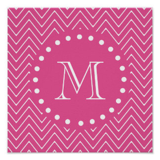 Hot Pink Chevron | Your Monogram Poster