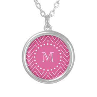 Hot Pink Chevron | Your Monogram Silver Plated Necklace