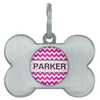 Hot Pink Chevrons - Add Your Own Text Pet Name Tag