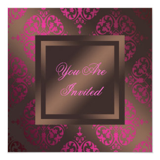 Hot Pink Chocolate Brown Party 13 Cm X 13 Cm Square Invitation Card