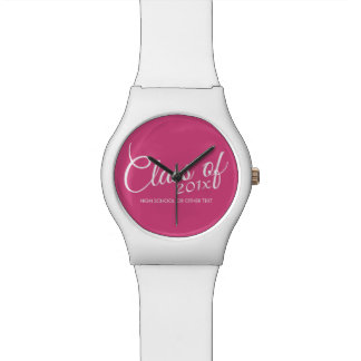 Hot Pink - Class of with Custom Year & High School Watch