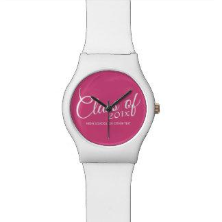 Hot Pink - Class of with Custom Year & High School Wristwatch