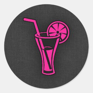 Hot Pink Cocktail Round Sticker