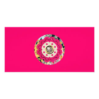 HOT PINK COLORFUL CIRCLE COLLAGE CRAFTS SILVER SPA PHOTO CARD TEMPLATE
