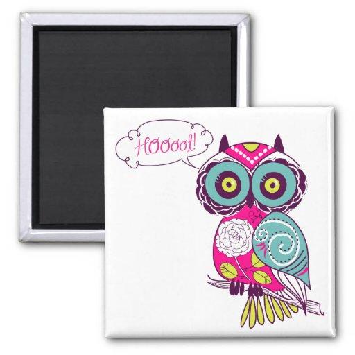 Hot Pink Colorful Ornate Retro Floral Owl Magnet