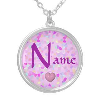 Hot Pink Confetti and Your Name Pendants
