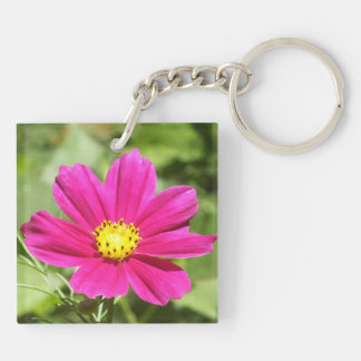 Hot Pink Cosmos Flower Keychain