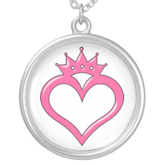 Hot Pink Crown Heart Round Pendant Necklace