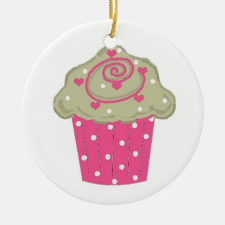 Hot Pink Cupcake Christmas Ornament