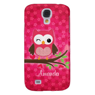 Hot Pink Cute Owl Girly Galaxy S4 Case