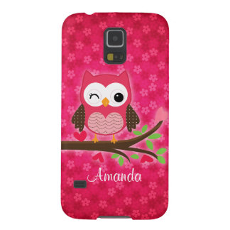 Hot Pink Cute Owl Girly Galaxy S5 Cover