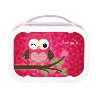 Hot Pink Cute Owl Girly Lunch Box
