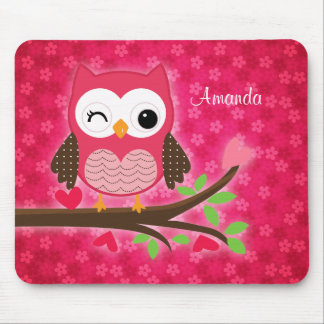 Hot Pink Cute Owl Girly Mouse Mat