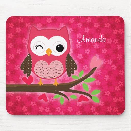 Hot Pink Cute Owl Girly Mousepad