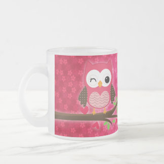 Hot Pink Cute Owl Girly Personalized Frosted Glass Mug