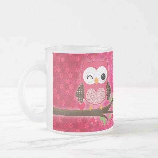 Hot Pink Cute Owl Girly Personalized Coffee Mug