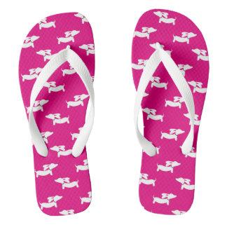 Hot Pink Dachshund Flip Flops