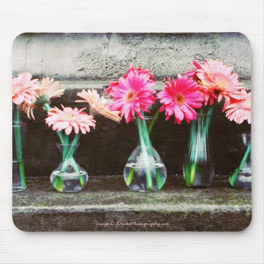 Hot Pink Daisies in Vases Mouse Mat