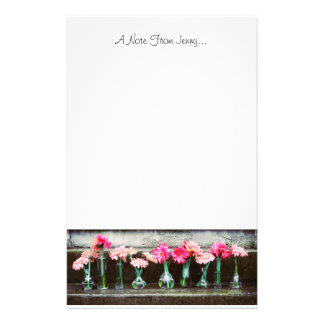 Hot Pink Daisies in Vases Stationery Paper