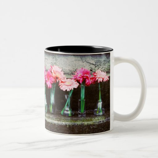 Hot Pink Daisies in Vases Two-Tone Mug