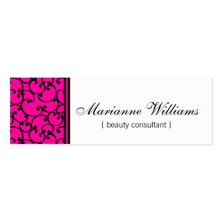 Hot Pink Damask Beauty Micro Mini Business Cards