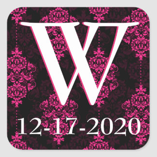 Hot Pink Damask & Black Wedding Envelope Seals Square Sticker
