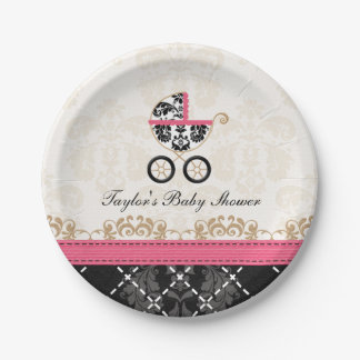 Hot Pink Damask Carriage Baby Shower Paper Plate