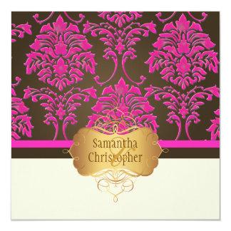 Hot pink damask/coffee custom invites