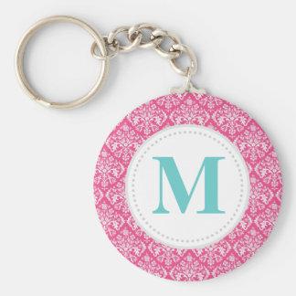 Hot Pink Damask Custom Monogram Basic Round Button Key Ring