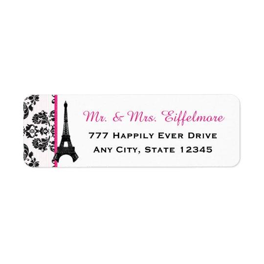 Hot Pink Damask Eiffel Tower