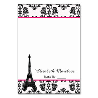 Hot Pink Damask Eiffel Tower Tent Place Cards