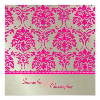 Hot pink damask faux silver wedding invitation