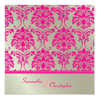 Hot pink damask/faux silver wedding invitation