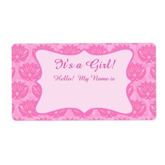 Hot Pink Damask Girl Baby Shower Custom Name Tag