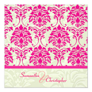 Hot pink damask/ivory damask wedding invitations