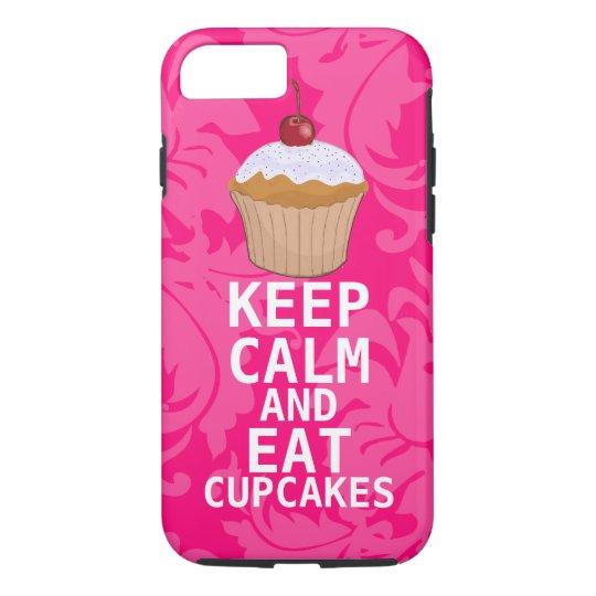 Hot Pink Damask KEEP CALM AND Eat Cupcakes