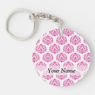 Hot pink damask acrylic keychains
