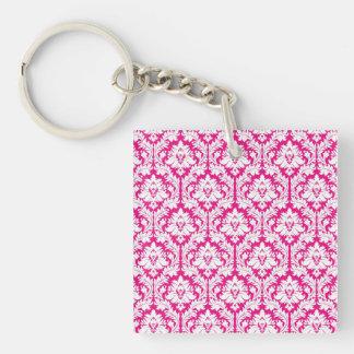Hot Pink damask Key Chains