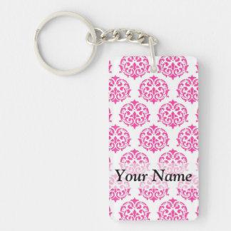 Hot pink damask acrylic keychain