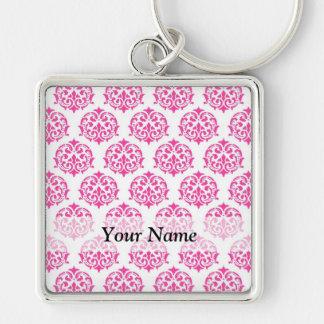 Hot pink damask keychains