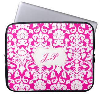 Hot pink damask laptop case with custom initials computer sleeve