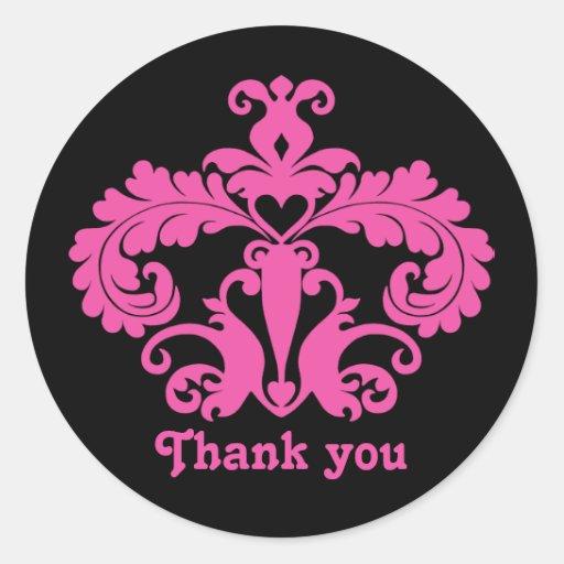 Hot pink damask motif on black wedding Thank you Round Stickers