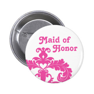 Hot pink damask on white Maid of Honor wedding 6 Cm Round Badge
