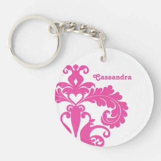 Hot pink damask on white personalized round acrylic key chains