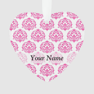 Hot pink damask ornament