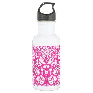 Hot pink damask pattern 532 ml water bottle
