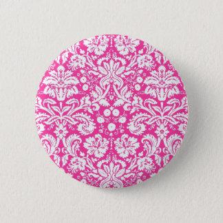 Hot pink damask pattern 6 cm round badge