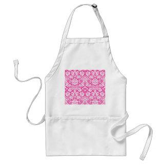 Hot pink damask pattern adult apron