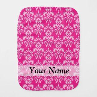 Hot pink damask pattern burp cloth